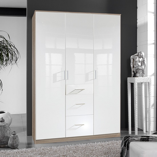 Alton Wardrobe In High Gloss White And Oak With 3 Door 3 Drawers_1
