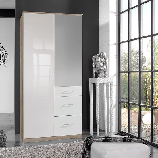 Alton Mirror Wardrobe In High Gloss White And Oak With 2 Doors
