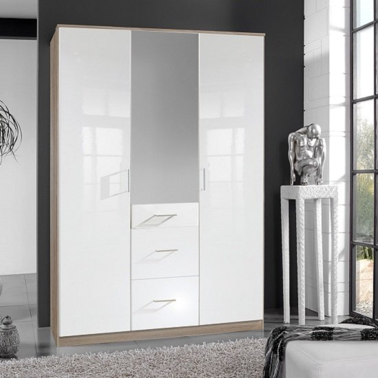 Alton Mirror Wardrobe In High Gloss White And Oak With 3 Doors
