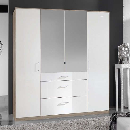 Alton Mirror Wardrobe In High Gloss White And Oak With 4 Doors