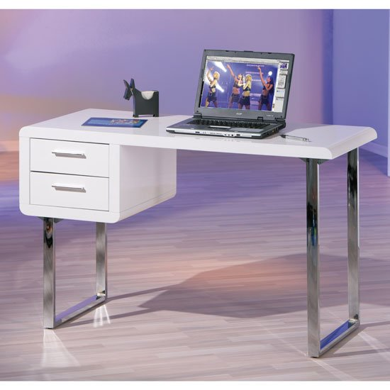 Carlo Computer Desk In High Gloss White With Chrome Legs. Heavy Duty Inversion Table. Oval Tables. Contemporary Desk Lamp. 6 Drawer Tall Chest. Small Office Table. Loft Double Bed With Desk. Desk Extension. Desk Tv Mount
