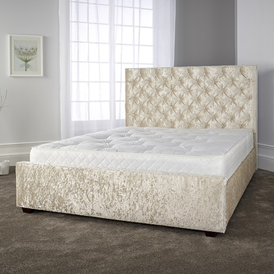 Alison Voguish Bed In Glitz Cream Velvet Fabric With Wooden Legs