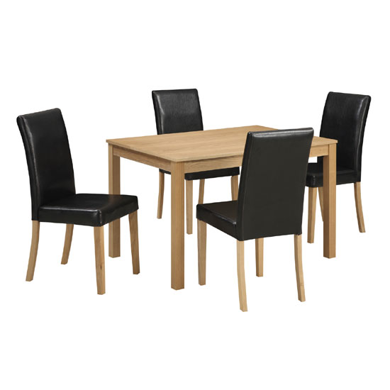 Cambridge Oak Finish Rectangular Dining Table And 4 Chairs