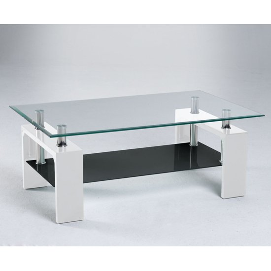 Centro Glass Coffee Table with Undershelf And Gloss White Legs