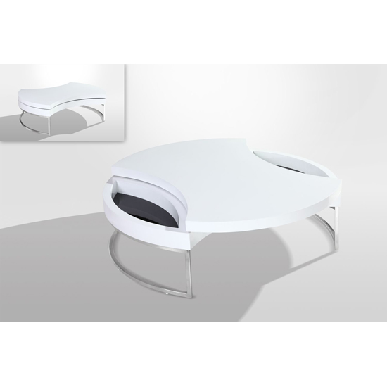 Wheel High Gloss Rotating Top Coffee Table In White