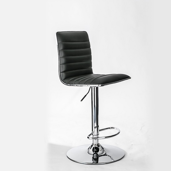 Albany Barstool In Black Faux Leather With Chrome Base