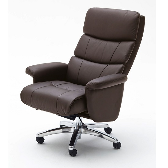 Bastian Home Office Chair In Brown Faux Leather With Rollers_2