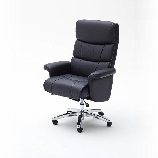 Bastian Home Office Chair In Black PU Leather And Padded Armrest