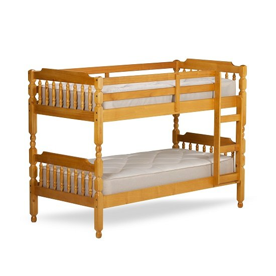 Colonial Wooden Small Single Bunk Bed In Honey