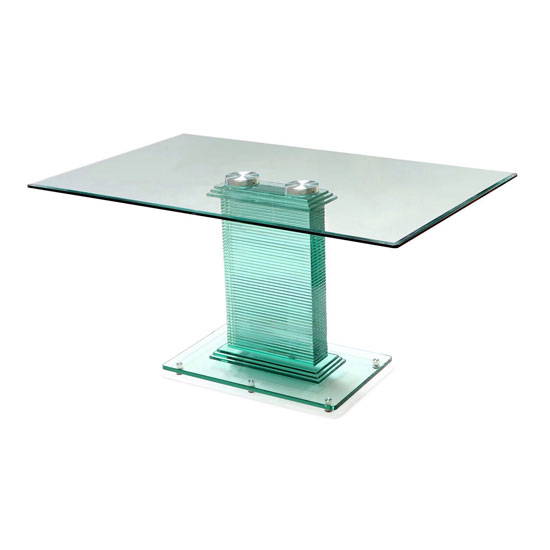 Columbus Dining Table In All Glass With Chrome Support