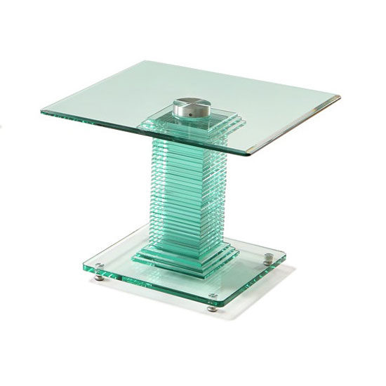 Columbus End Table In All Glass With Chrome Support 24416