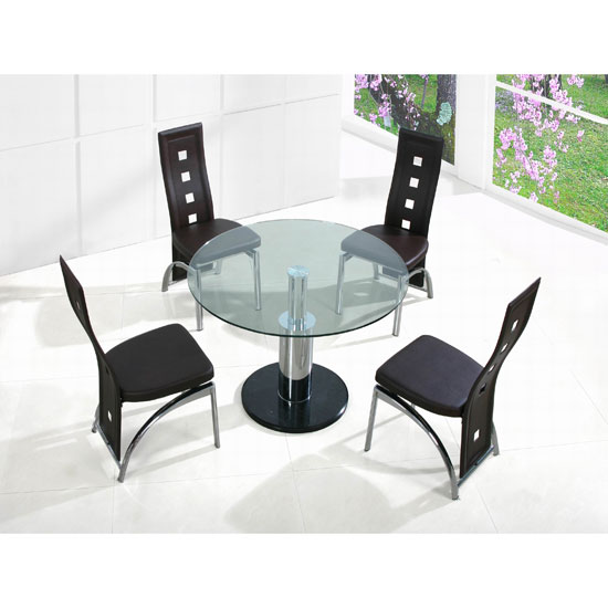 Coma Round Clear Glass Dining Table And 4 Brown Manhattan Chairs