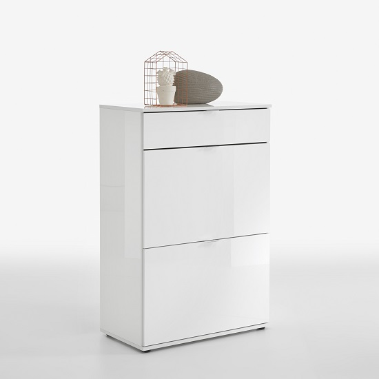 Portino Shoe Cabinet in White High Gloss With 2 Doors And Drawer_1