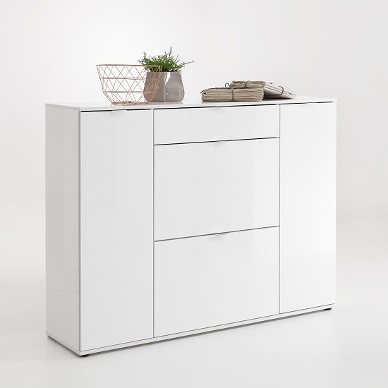 Roscrea Shoe Cabinet In White High Gloss With 4 Doors and Drawer