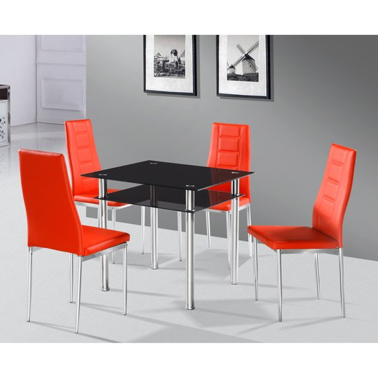 Callisto Glass Dining Table With 4 Red Nova Dining Chairs