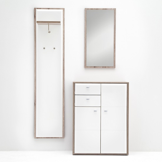 Read more about Camino hallway furniture set 3 in white gloss and sanremo oak
