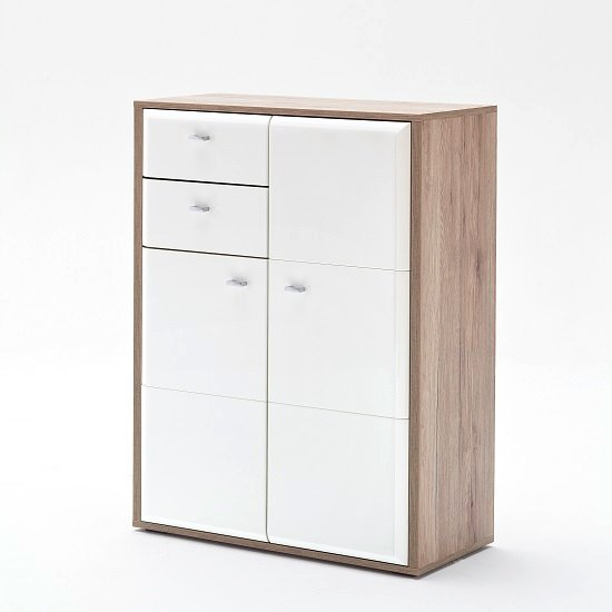 Camino Shoe Storage Cabinet In White Gloss Front And Sanremo Oak