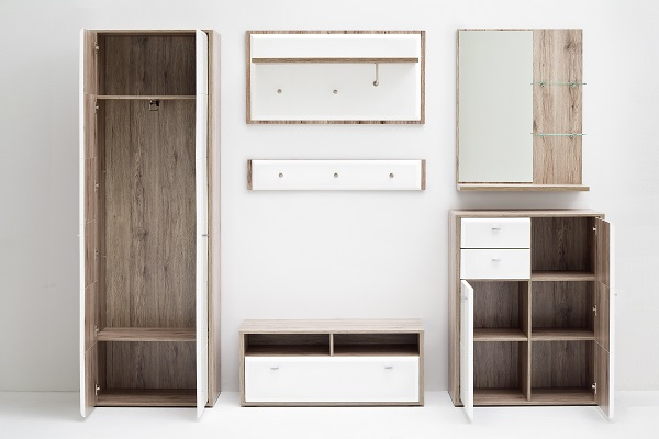 Camino Wardrobe In White Gloss Front And Sanremo Oak With 2 Door_3