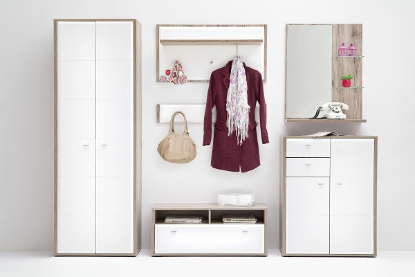 Camino Wardrobe In White Gloss Front And Sanremo Oak With 2 Door_8