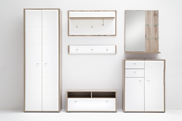 Camino Wardrobe In White Gloss Front And Sanremo Oak With 2 Door_9