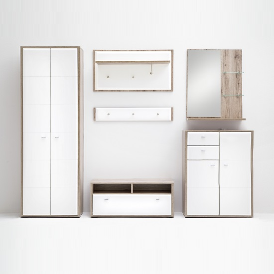 Read more about Camino hallway furniture set 2 in white gloss and sanremo oak