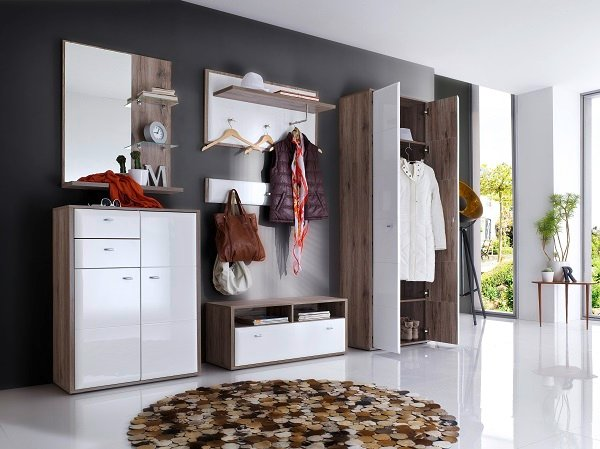camino wall mounted coat rack in white gloss front and oak. Black Bedroom Furniture Sets. Home Design Ideas