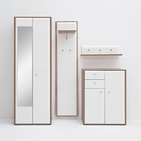 Camino Hallway Furniture Set 1 In White Gloss And Sanremo Oak
