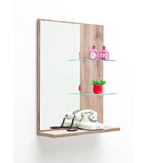 Decorative Wall Mirror Panels : Camino wall mirror with panel in sanremo oak shelf