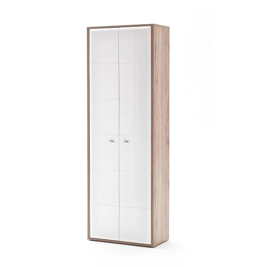 Camino Wardrobe In White Gloss Front And Sanremo Oak With 2 Door
