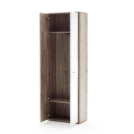 Camino Wardrobe In White Gloss Front And Sanremo Oak With 2 Door_2