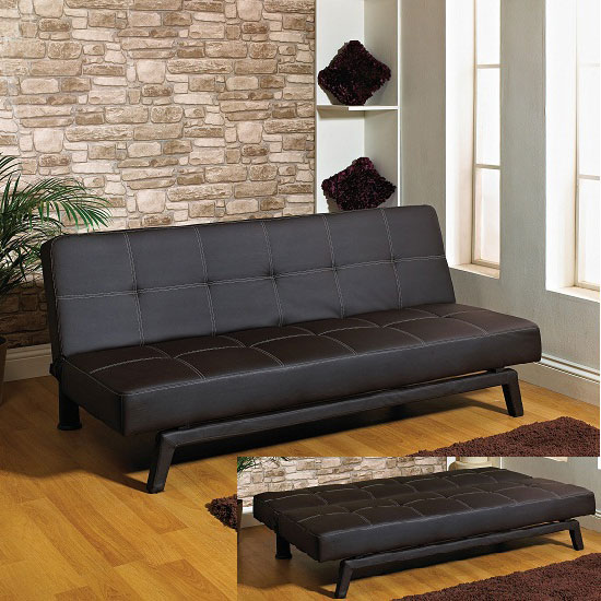 Connie Sofa Bed in Black PU Leather