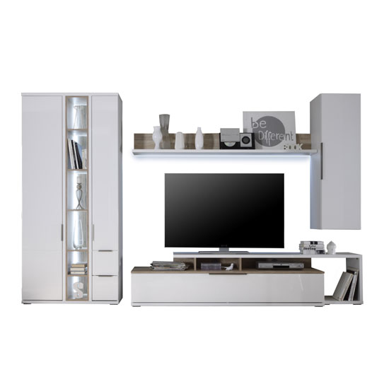 Kelso living room set 1 in white gloss front and oak with for Front room sets