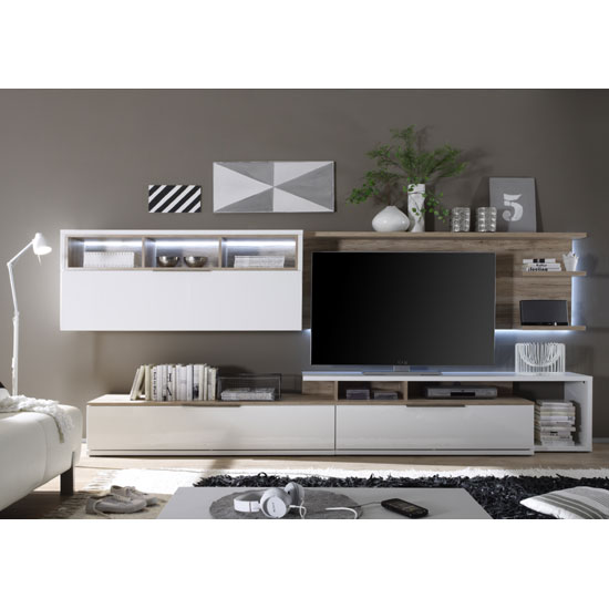 Kelso Living Room Set 3 In White Gloss Front And Oak With LEDs