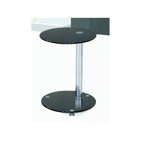 Conway Lamp Table In Black Glass Top