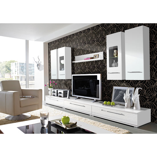 Freestyle Contemporary Living Room Furniture Set 2 In White