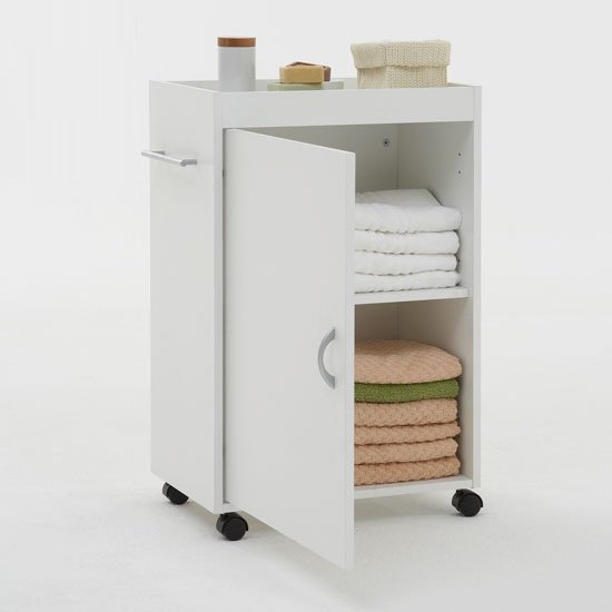 Cordoba bathroom storage trolley in white 6623 furniture in for Big w bedroom storage