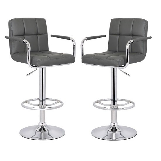 Glenn Bar Stool In Grey Faux Leather in A Pair