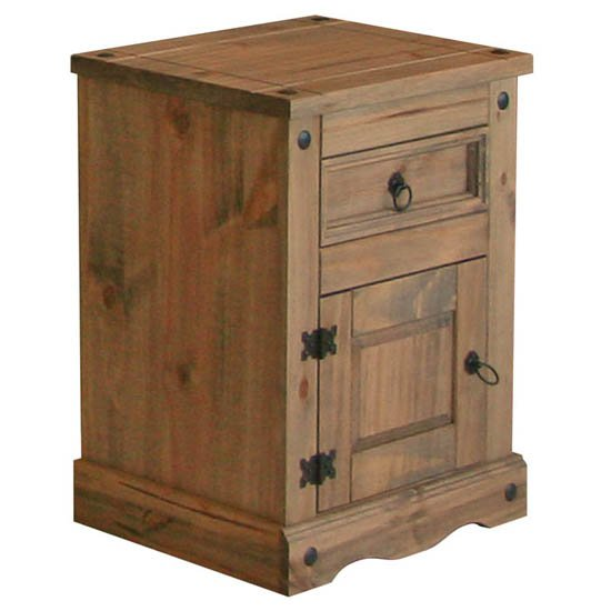 Read more about Corina bedside cabinet in waxed pine with 1 door and 1 drawer