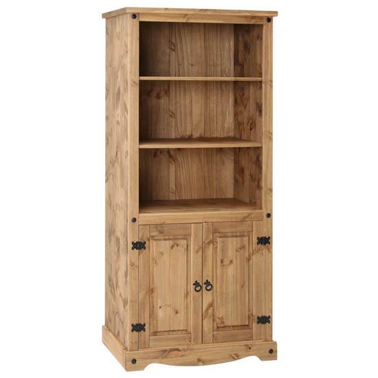 Corina 2 Door Bookcase In Waxed Pine