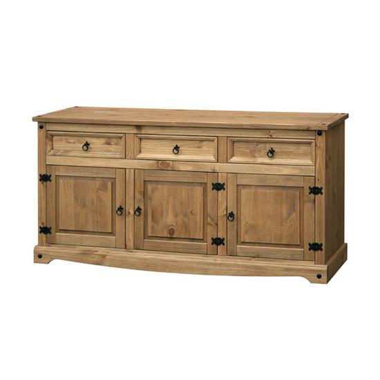 Corina Large Sideboard In Waxed Pine With 3 Doors And 3 Drawers