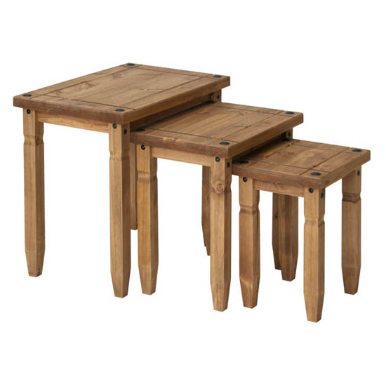 Corina Wooden Nest Of Tables In Waxed Pine