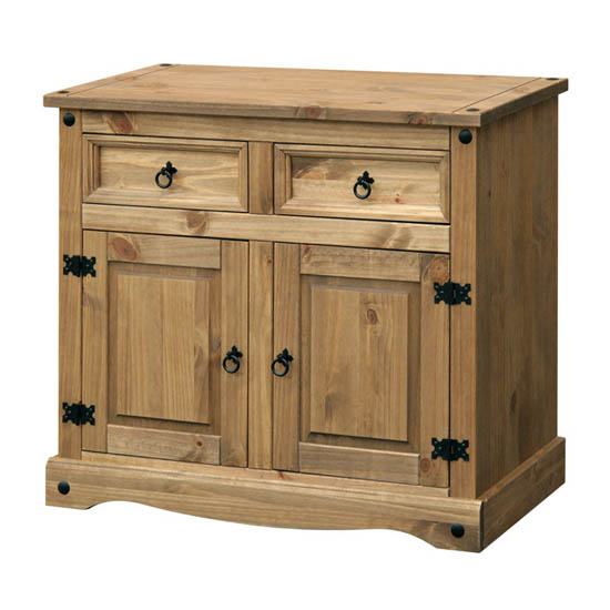 Corina Small Sideboard In Waxed Pine With 2 Doors And 2 Drawers
