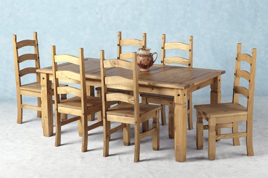 6 Seater Wooden Dining Table and 6 Chairs Furniture in  : Corona 70 Inch Wood Dining Set from www.furnitureinfashion.net size 550 x 366 jpeg 161kB