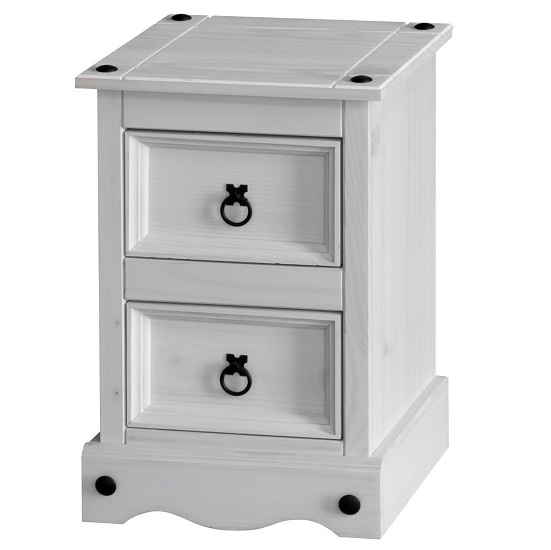 Coroner Bedside Cabinet In White Washed With 2 Drawers