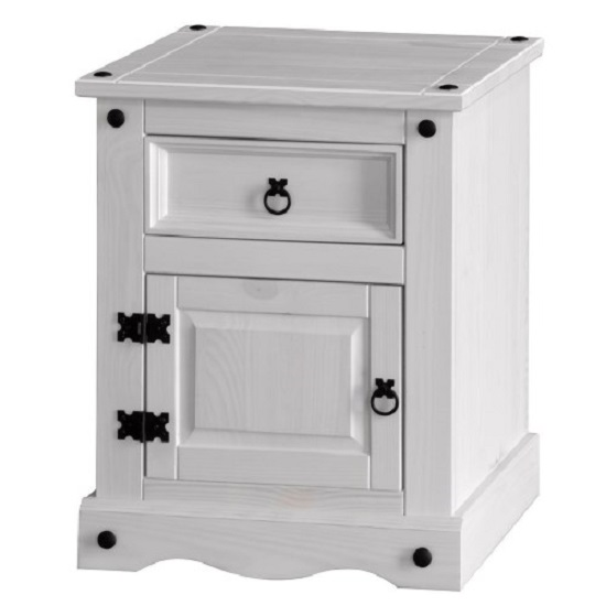 Coroner Bedside Cabinet In White Washed With 1 Door And 1 Drawer