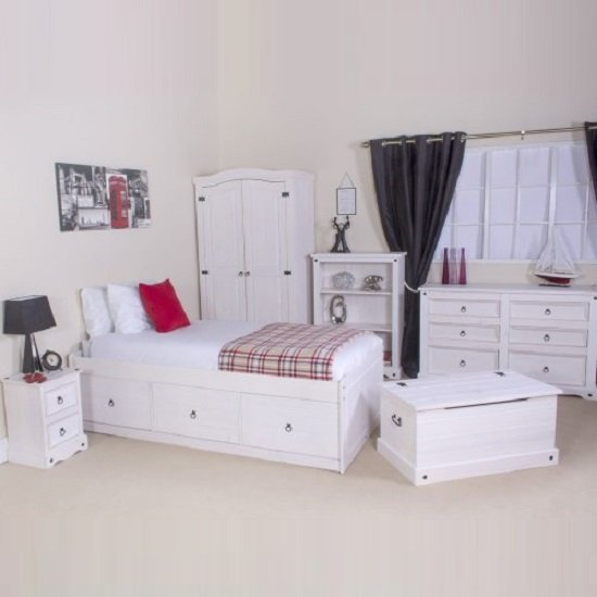 Coroner Cabin Bed In White Washed With 3 Drawers_3