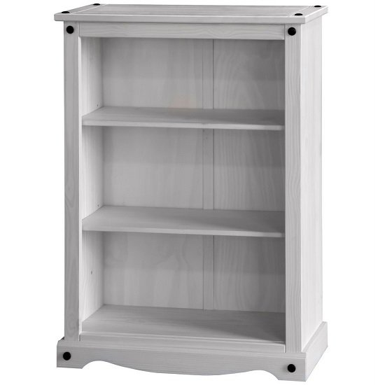 Coroner Low Bookcase In White Washed Pine With 2 Shelf