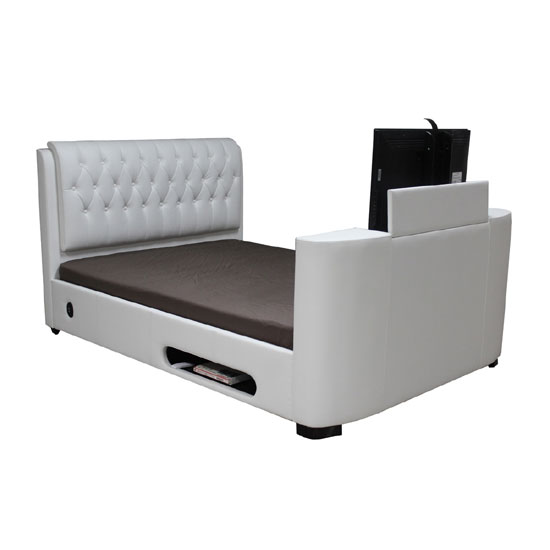 Cosmo White Faux Leather Finish King Size TV Bed