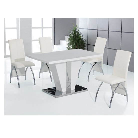 Costilla 4 Seater Dining Table Set In High Gloss White