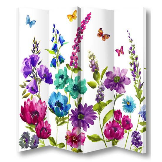 Cottage Garden Floral Room Divider In 4 Panels